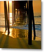 Fishing Pier And Surf II Metal Print