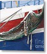 Fishing Vessel In Winter's Rest Metal Print