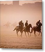 Five People Riding Thoroughbred Horses Metal Print
