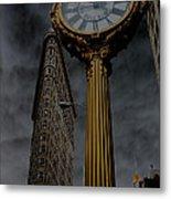 Flatiron Building And Clock Metal Print