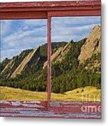 Flatirons Boulder Colorado Red Barn Picture Window Frame Photos  Metal Print
