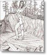 Flexible In The Morning... - Sketch Metal Print by Robert Meszaros