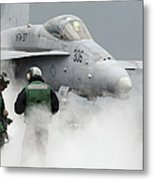 Flight Deck Personnel Are Surrounded Metal Print by Stocktrek Images