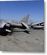 Flight Deck Personnel Reposition Av-8b Metal Print