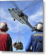 Flight Deck Personnel Wait For Supplies Metal Print