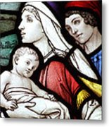 Flight To Egypt Stained Glass Metal Print