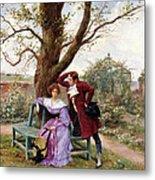 Flirtation Metal Print by Georges Jules Auguste Cain