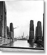 Floating Grain Elevators In Ny Metal Print