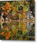 Floating Leaves In Tranquility Metal Print