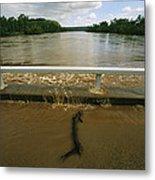 Flood Waters Rise To Meet A Bridge Metal Print by Randy Olson