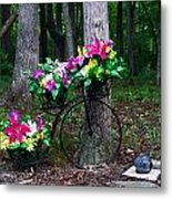 Floral Bicycle On A Cloudy Day Metal Print