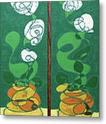 Floral Diptych In Green And Orange Metal Print