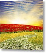 Floral Field On Sunset Metal Print
