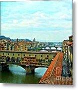 Florence Shopping Bridge Metal Print