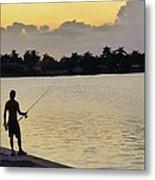 Florida Fishing At Sunset Metal Print