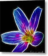 Flower - Electric Blue - Abstract Metal Print