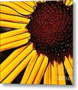 Flower - Yellow And Brown - Abstract Metal Print