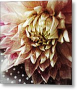 Flower On Black And White Polka Dots Metal Print