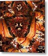 Flower Pattern In Sepia Metal Print