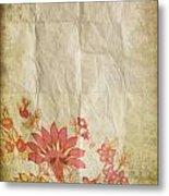 Flower Pattern On Old Paper Metal Print