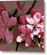 Flowering Crabapple Posterized Metal Print