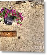 Flowers And A Signboard Metal Print