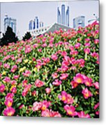 Flowers And Architecture Around Peoples Square Metal Print