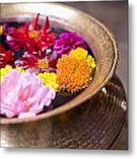Flowers Floating In A Bowl Filled With Metal Print