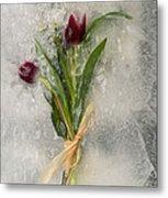 Flowers Frozen In Ice Metal Print
