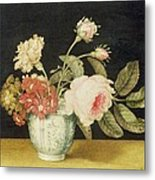 Flowers In A Delft Jar  Metal Print by Alexander Marshal