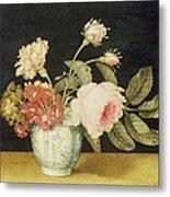Flowers In A Delft Jar  Metal Print