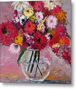 Flowers In A Glass Vase Metal Print