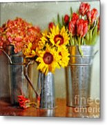 Flowers In Cans Metal Print