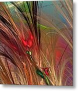 Flowers In The Grass Metal Print