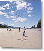 Flying A Bird Kite Near Haystack Rock Canon Beach Oregon Usa Metal Print