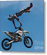 Flying High Motorcyle Tricks Metal Print