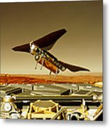 Flying Insect Robot And Refueller Metal Print