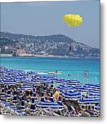 Flying Over The Nice Beach Metal Print
