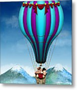 Flying Pig - Balloon - Up Up And Away Metal Print