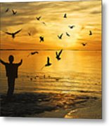 Flying Seagull With Silhouette Metal Print by Kam