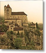 Fog Descending On St Cirq Lapopie In Sepia Metal Print