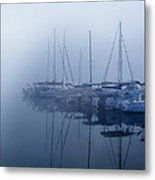 Fog Hides Sun From Sailboats Metal Print