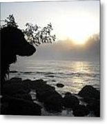 Fog On The Rocks Sunrise Metal Print