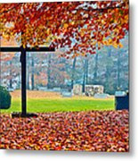 Foggy Autumn Cemetery Metal Print