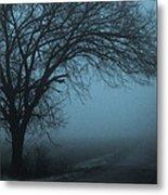 Foggy Country Road Metal Print