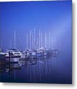 Foggy Morning At A Marina Metal Print