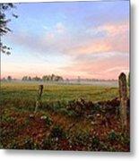 Foggy Morning Field Metal Print