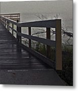 Foggy Morning On The Dock Metal Print