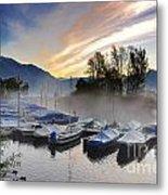 Foggy Port In Sunrise Metal Print