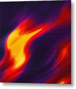 Folds Of Color Abstract - Flaming Fire Metal Print
